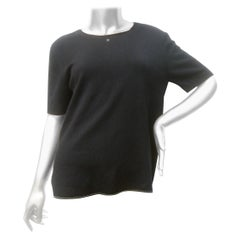 Chanel Black Cashmere & Silk Short Sleeve Sweater c 1990s