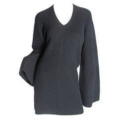 Chanel Black Cashmere Sweater Dress Bat Sleeves and Braiding