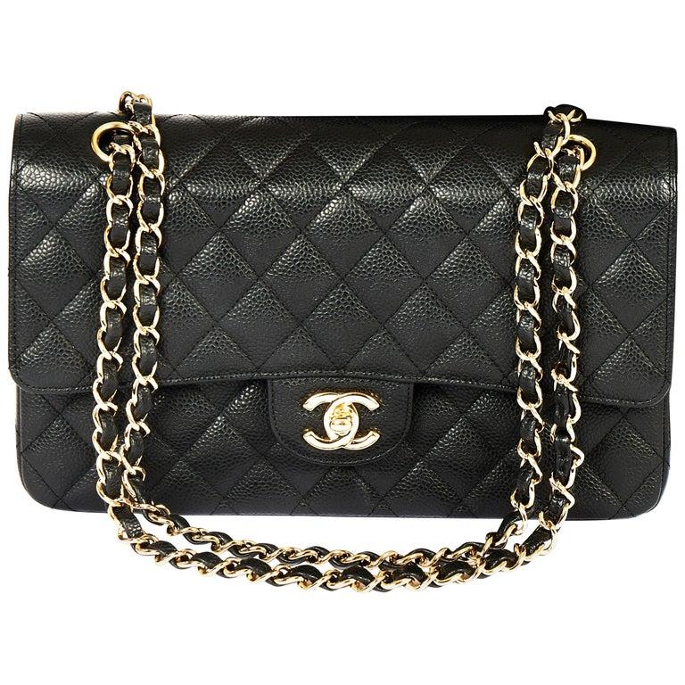 "Chanel Black Caviar 10"" Double Flap"