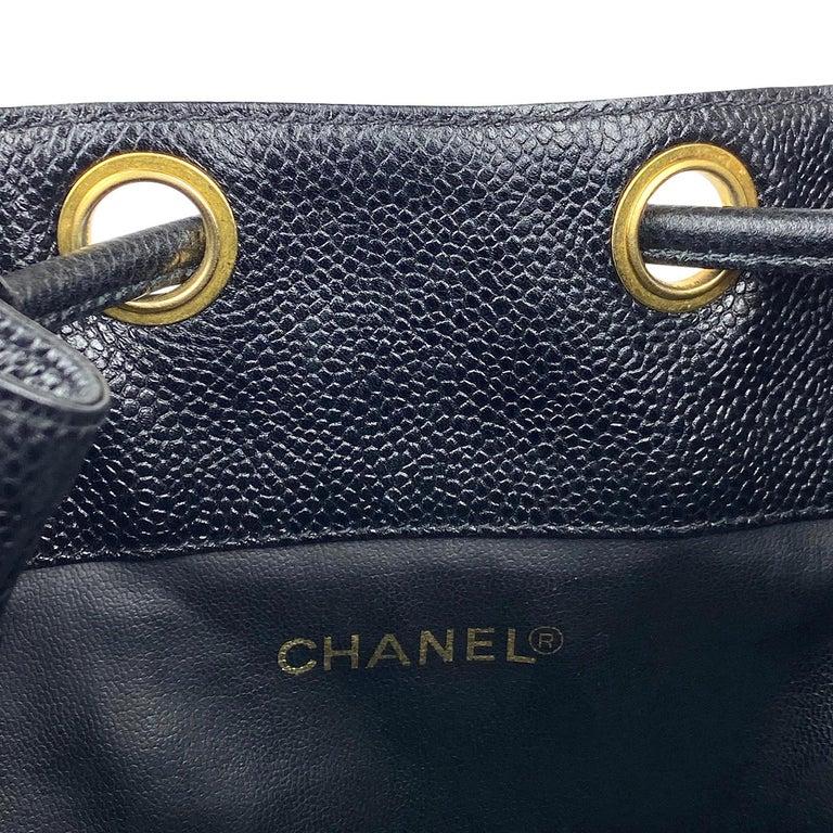 Chanel Black Caviar Bucket Bag 6