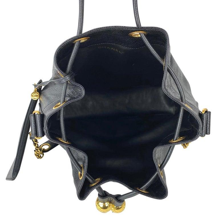 Chanel Black Caviar Bucket Bag 7