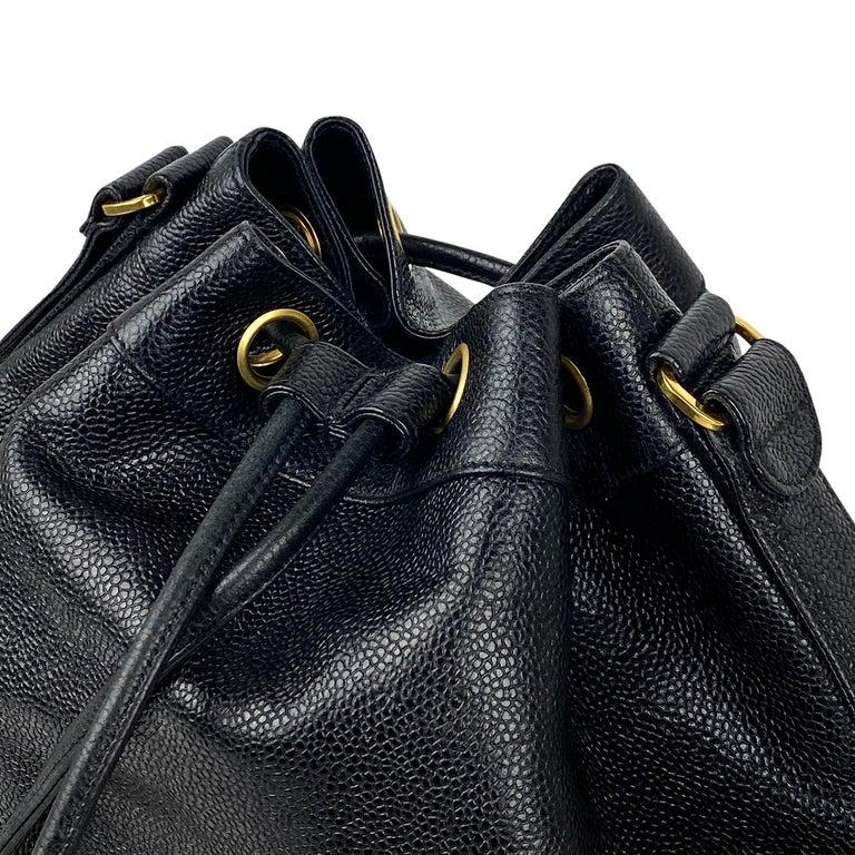 Chanel Black Caviar Bucket Bag 5