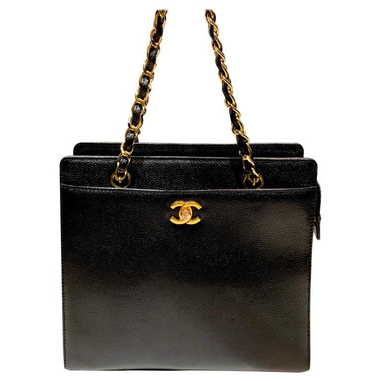 "Chanel Black Caviar ""CC"" Hand Tote Bag  For Sale"