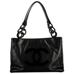 Chanel Black Caviar CC Lucite Logo Tote