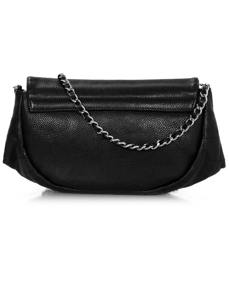 Chanel Black Caviar Half Moon Wallet On Chain WOC Croossody Bag In Excellent Condition For Sale In New York, NY