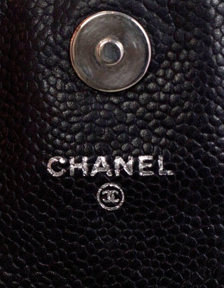 Chanel Black Caviar Half Moon Wallet On Chain WOC Croossody Bag For Sale 2