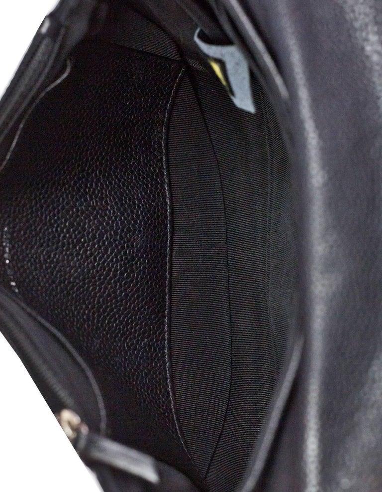Chanel Black Caviar Half Moon Wallet On Chain WOC Croossody Bag For Sale 3