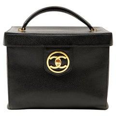 Chanel Black Caviar Large Vanity Case