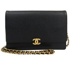 Chanel Black Caviar Leather Antique Gold WOC Wallet on Chain Shoulder Flap Bag