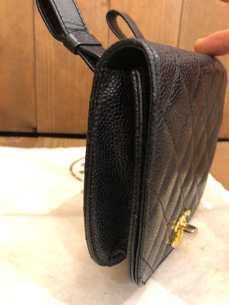CHANEL Black Caviar Leather Belt Bag For Sale 6
