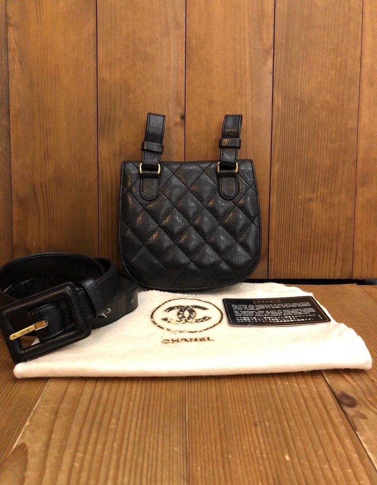 This Chanel belt bag in black caviar leather from year 1991 is in great vintage condition. Belt size 80/32 which fits up to 32 inch waist. Made in France with Holo 1xxxxxx. Comes with dust bag and authenticity card.  Measurements: