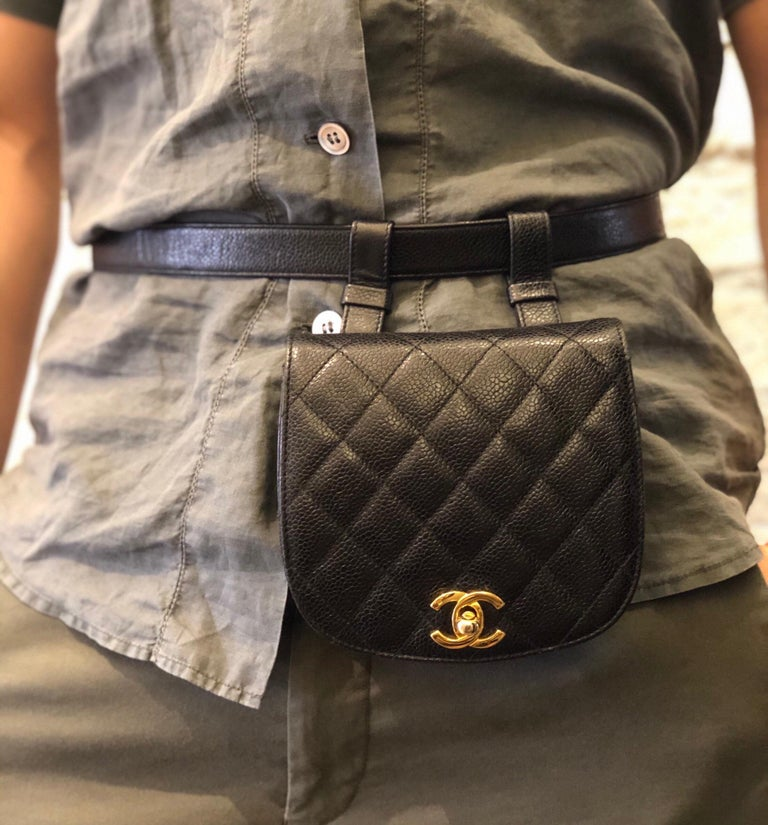 CHANEL Black Caviar Leather Belt Bag In Good Condition For Sale In Bangkok, TH