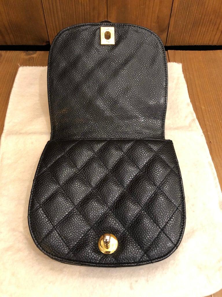 Women's or Men's CHANEL Black Caviar Leather Belt Bag For Sale