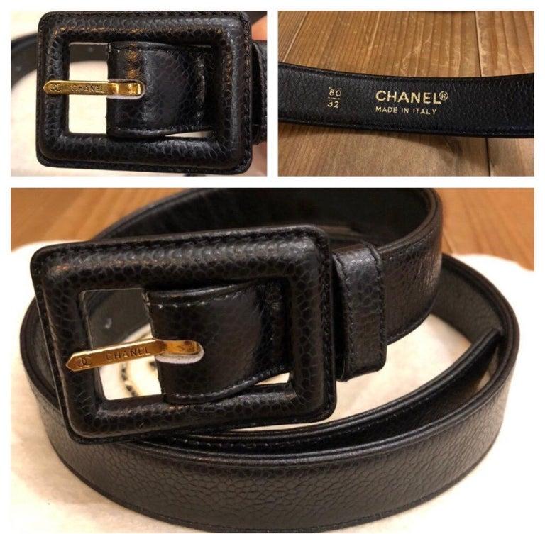 CHANEL Black Caviar Leather Belt Bag For Sale 2