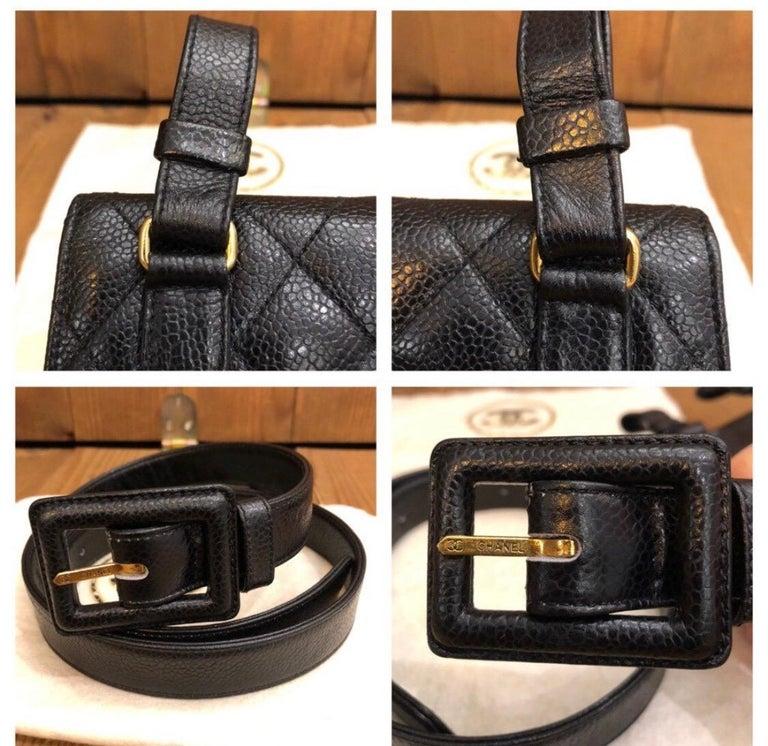 CHANEL Black Caviar Leather Belt Bag For Sale 3