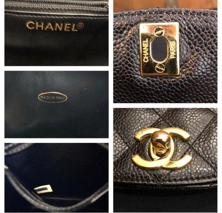 CHANEL Black Caviar Leather Belt Bag For Sale 4