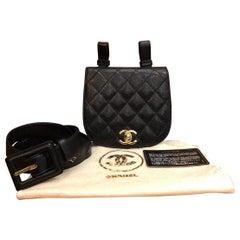 CHANEL Black Caviar Leather Belt Bag