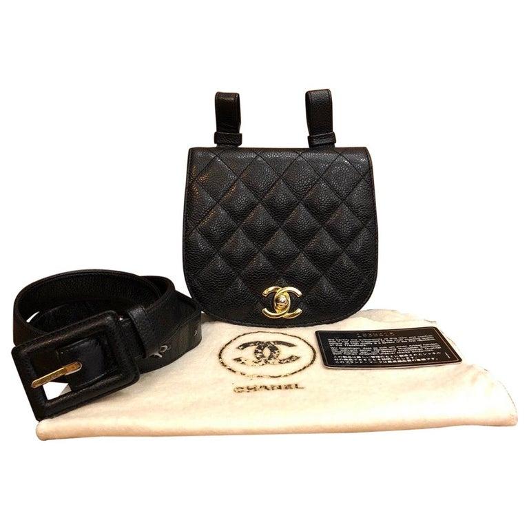 CHANEL Black Caviar Leather Belt Bag For Sale
