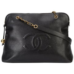 Chanel Black Caviar Leather Carryall Shopper Weekender Travel Shoulder Tote Bag