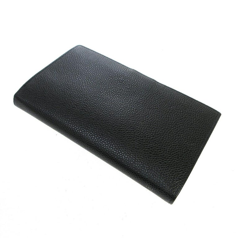Chanel Black Caviar Leather CC Evening Envelope Clutch Wallet in Box  Caviar leather Snap closure Leather and woven lining Date code present Made in France Measures 6.5