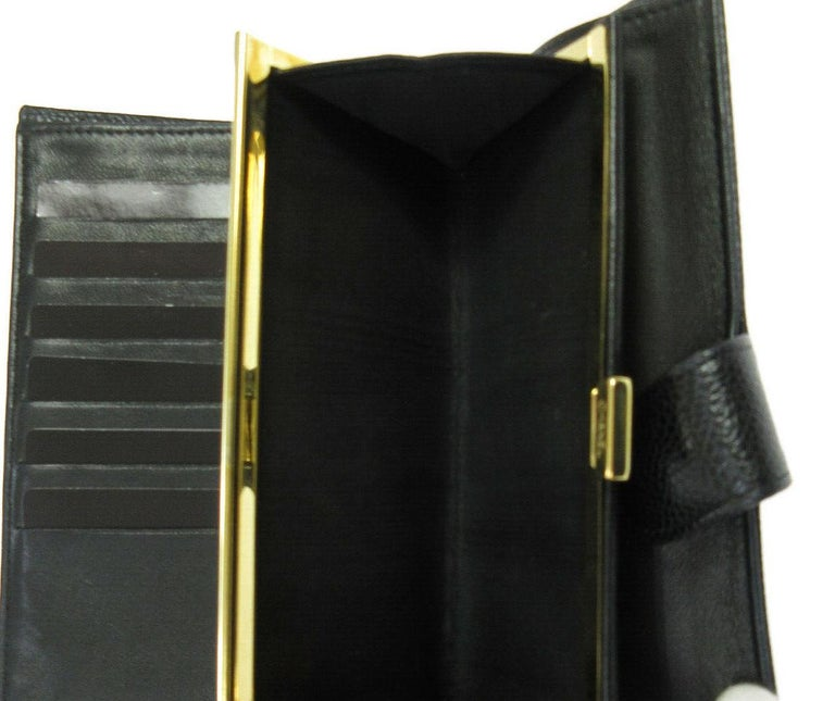 Women's Chanel Black Caviar Leather CC Evening Envelope Clutch Wallet in Box For Sale