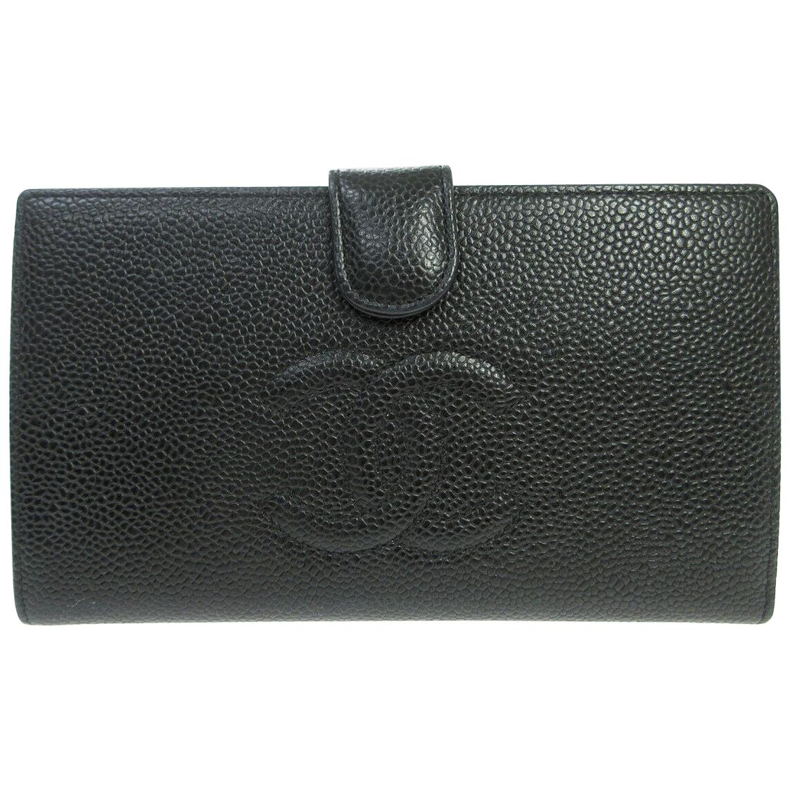 Chanel Black Caviar Leather CC Evening Envelope Clutch Wallet in Box