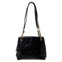 Chanel Black Caviar Leather CC Shoulder Bag
