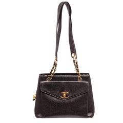 Chanel Black Caviar Leather Chain Tote Bag