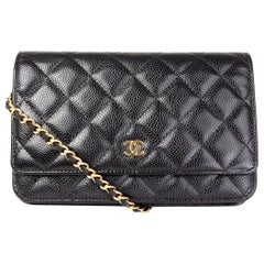 CHANEL black Caviar leather CLASSIC WALLET ON CHAIN Bag WOC
