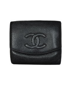 Chanel Black Caviar Leather Compact Timeless CC Wallet