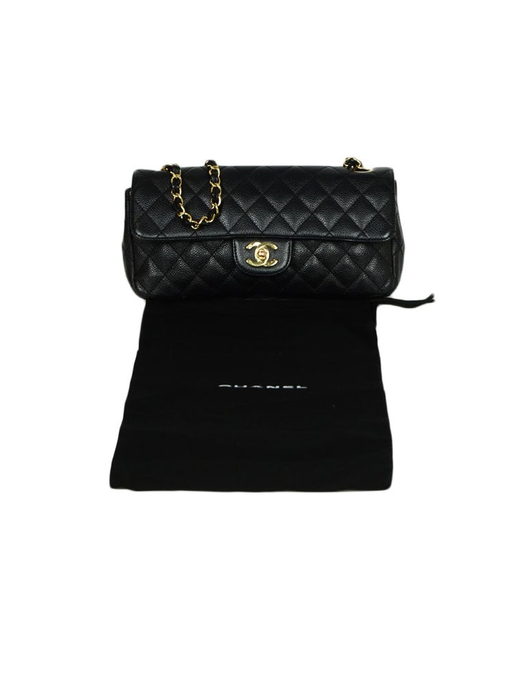 Chanel Black Caviar Leather East/West Classic Quilted Flap Bag For Sale 7