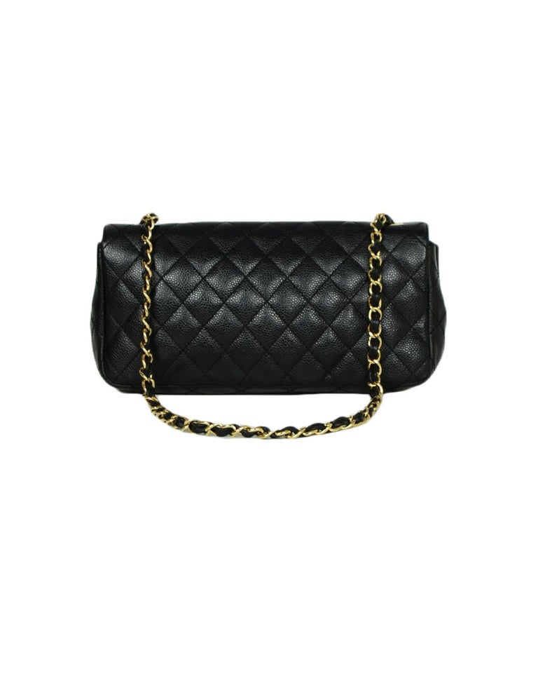 Chanel Black Caviar Leather East/West Classic Quilted Flap Bag In Excellent Condition For Sale In New York, NY