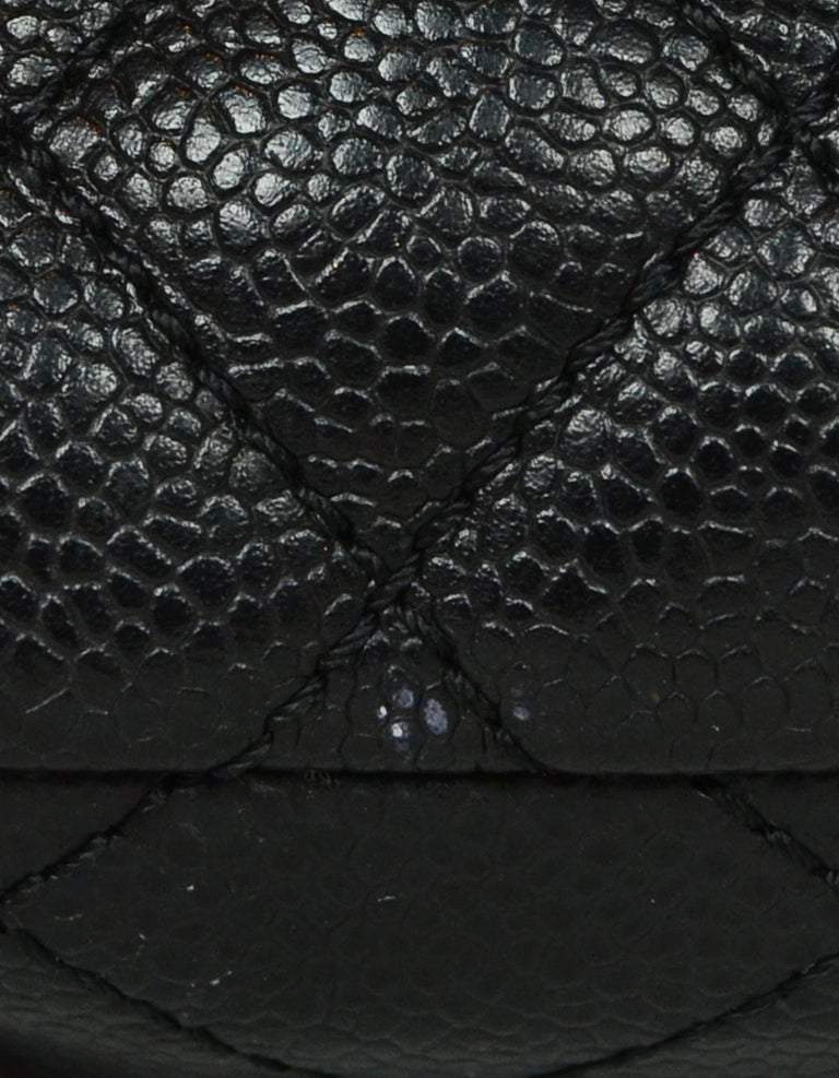 Chanel Black Caviar Leather East/West Classic Quilted Flap Bag For Sale 2