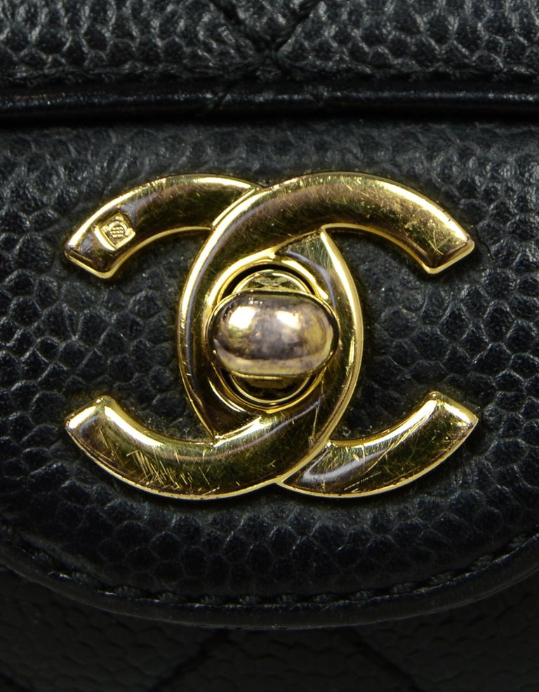 Chanel Black Caviar Leather East/West Classic Quilted Flap Bag For Sale 3