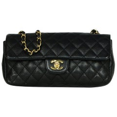 Chanel Black Caviar Leather East/West Classic Quilted Flap Bag