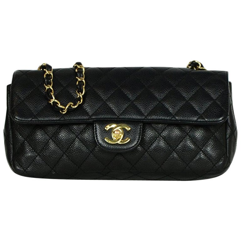 Chanel Black Caviar Leather East/West Classic Quilted Flap Bag For Sale