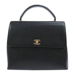 Chanel Black Caviar Leather Gold Evening Kelly Style Top Handle Satchel Flap Bag
