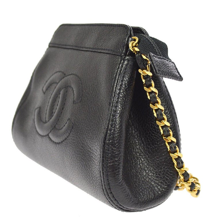 8a4265da7d7d Chanel Black Caviar Leather Gold Logo Evening Small Mini Shoulder Bag In  Good Condition For Sale