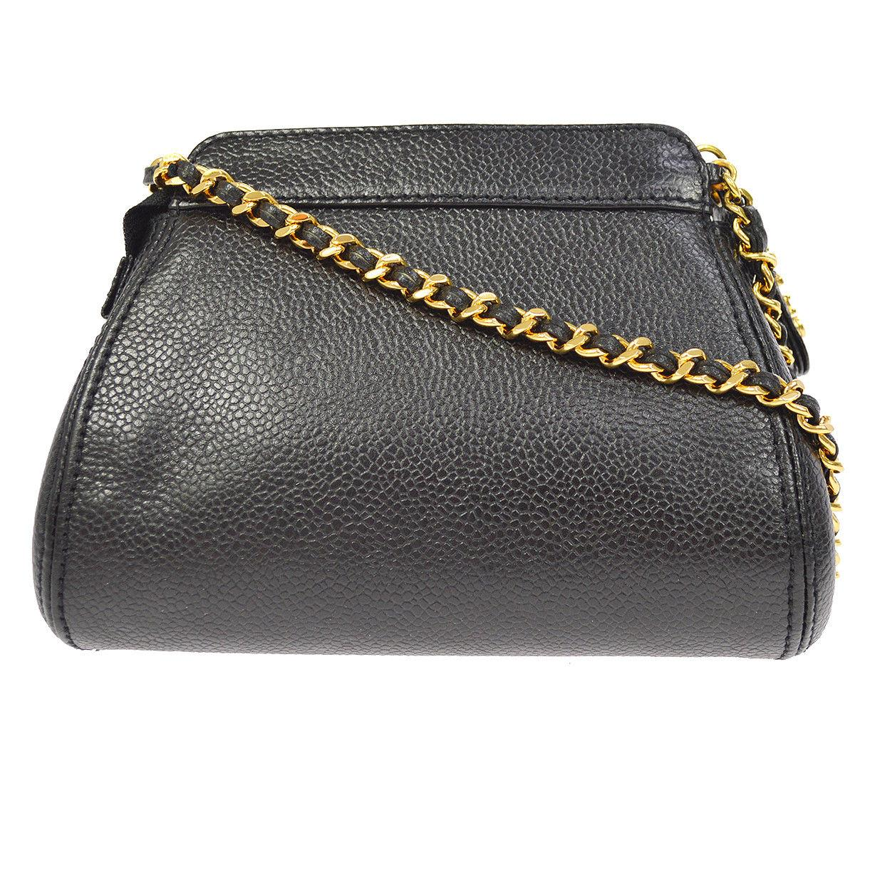 93ab4d6bbf95 Chanel Black Caviar Leather Gold Logo Evening Small Mini Shoulder Bag For  Sale at 1stdibs