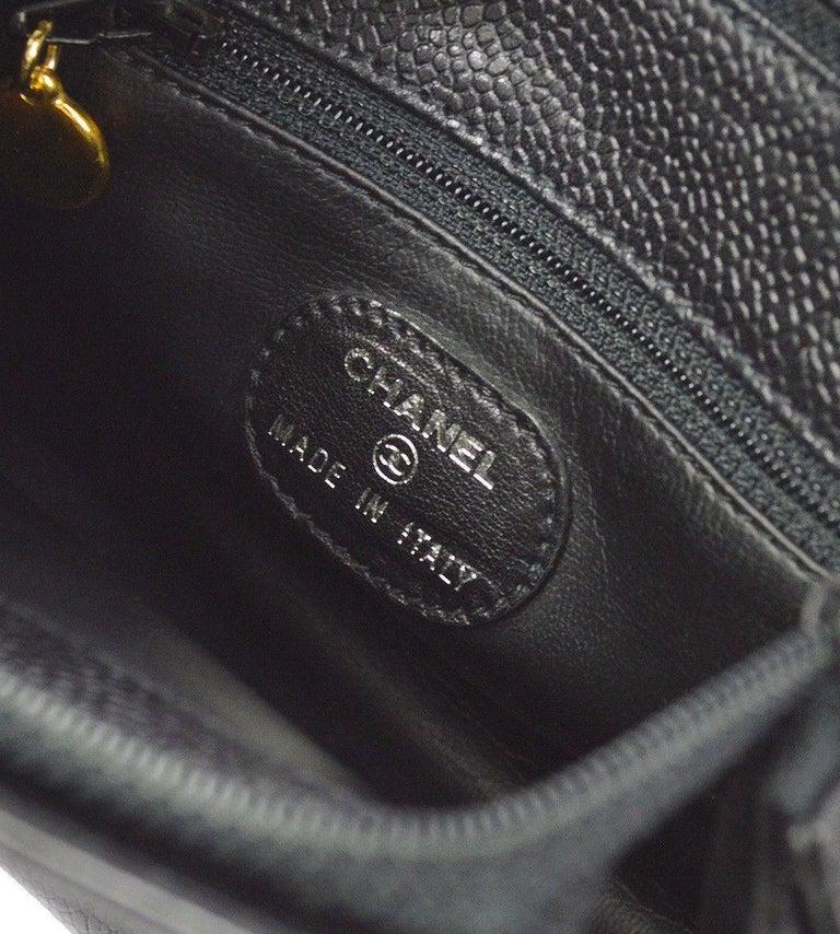 a2ad0223e149 Chanel Black Caviar Leather Gold Logo Evening Small Mini Shoulder Bag For  Sale 3