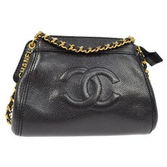 Chanel Black Caviar Leather Gold Logo Evening Small Mini Shoulder Bag