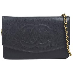 Chanel Black Caviar Leather Gold Small Crossbody WOC Shoulder Flap Bag