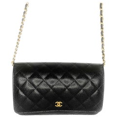 Chanel Black Caviar Leather Gold-tone Wallet On Chain WOC