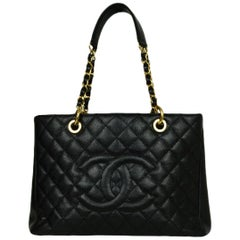 Chanel Black Caviar Leather/Goldtone Grand Shopper Tote GST Bag