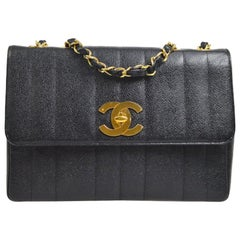 Chanel Black Caviar Leather Large Jumbo Gold Logo Evening Flap Shoulder Bag