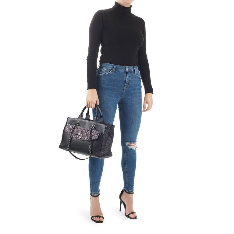 2016 Chanel Black Caviar Leather Large Shoulder Shopping Tote With Pouch For Sale 6