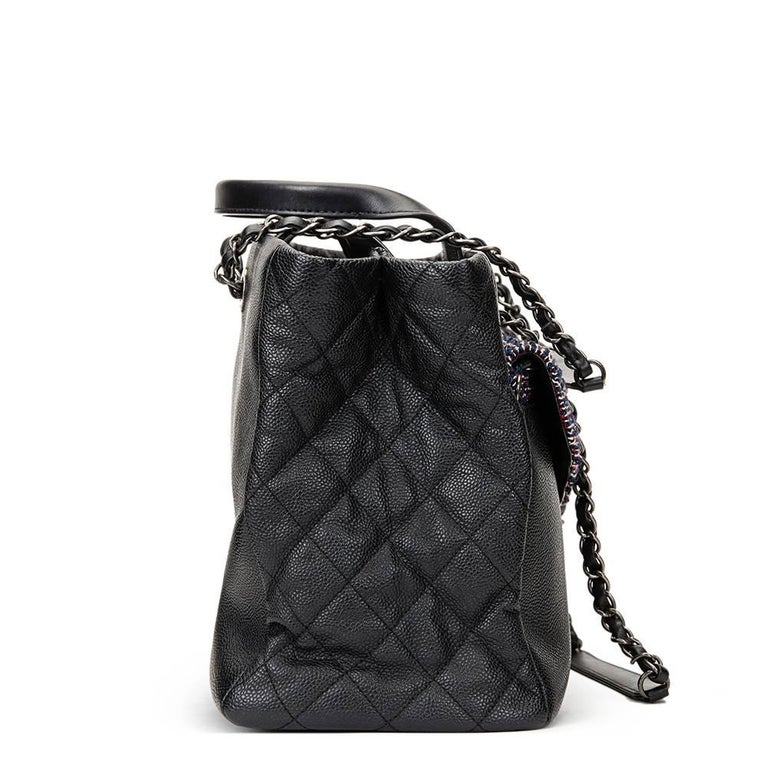 CHANEL Black Caviar Leather Large Shoulder Shopping Tote with Pouch  Reference: HB1284 Serial Number: 22225035 Age (Circa): 2016 Accompanied By: Chanel Dust Bag, Authenticity Card, Removable Tweed Pouch Authenticity Details: Authenticity Card,