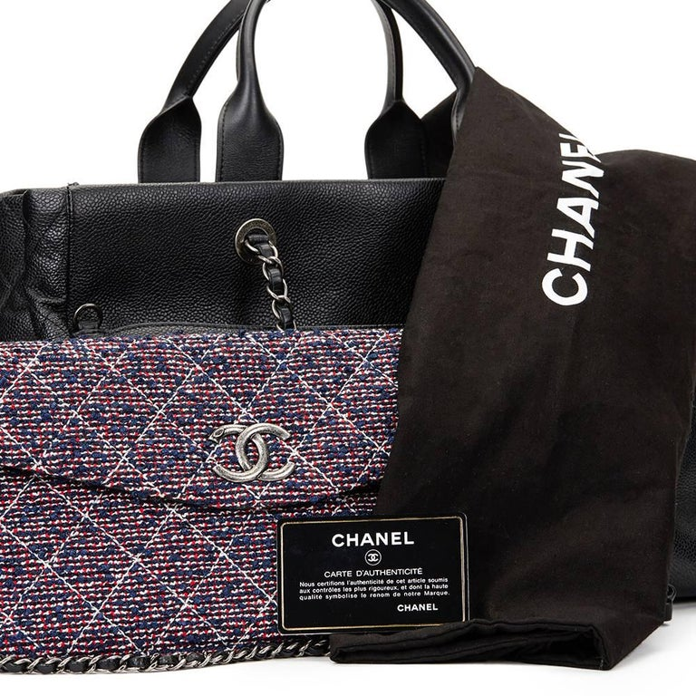 2016 Chanel Black Caviar Leather Large Shoulder Shopping Tote With Pouch For Sale 5