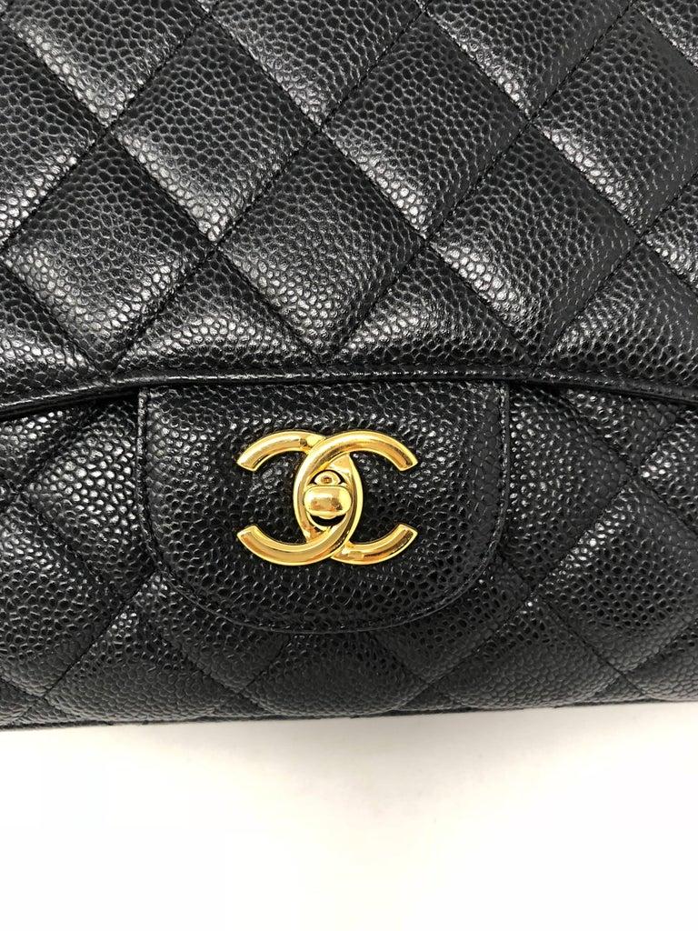 Chanel Black Caviar Leather Maxi Bag  For Sale 6