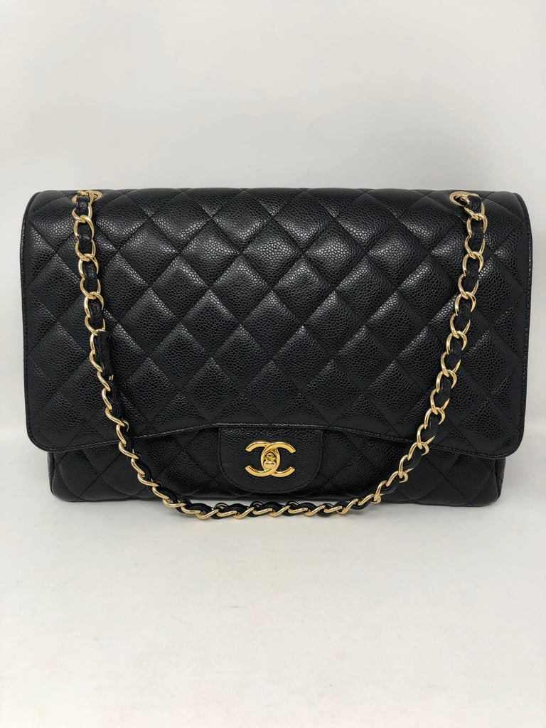 Chanel Black Caviar Leather Maxi Bag  In Excellent Condition For Sale In Athens, GA